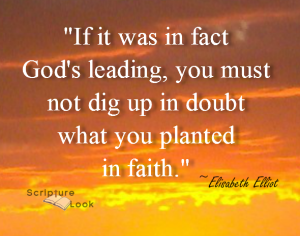 "Elisabeth Elliot quotes: ""If it was in fact God's leading, you must not dig up in doubt what you planted in faith."""