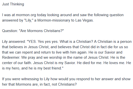 Mormon beliefs questioned to see if they are Christian