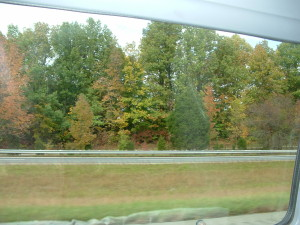 View from our personal van window during our travels.