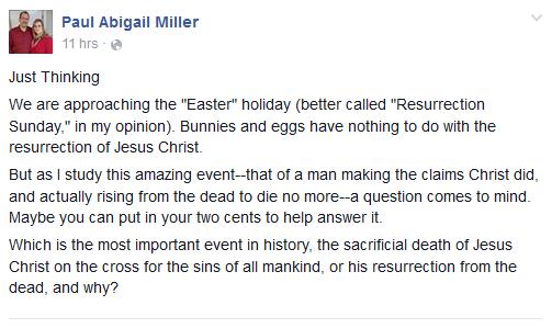 Screenshot of Paul Miller's question